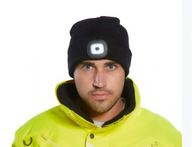 Portwest B028 Beanie Cap with Twin LED Lights