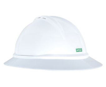 MSA 10167950 Full Brim Vented Hard Hat with Ratchet Suspension
