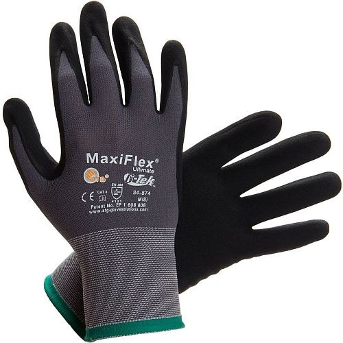Pip 34 874 Maxi Flex Black And Grey Nylon Gloves A1
