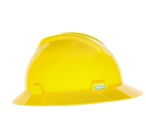Full Brim Yellow MSA Hard Hat with Ratchet Suspension, MSA 475366