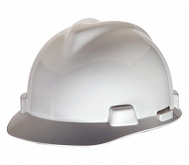 Large MSA 477482 Cap Style White Hard Hat with Ratchet Suspension