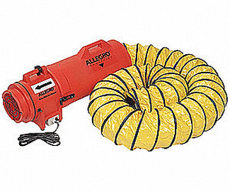 Allegro 9536-25 Axial 8'' DC Plastic Blower with Canister and 25' Ducting