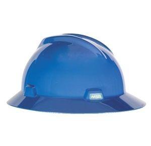 MSA Full Brim Blue Hard Hat MSA 475368 , ratchet hard hat, ratchet suspension hard hat