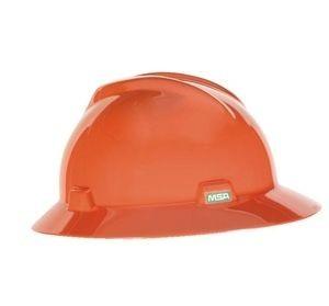 MSA Hard Hat Full Brim Orange 496075, msa hard hat ratchet suspension, full rim msa hard hat
