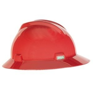 MSA Hard Hat Full Brim Red 475371, msa ratchet suspension red hard hat, msa hard hats cheap