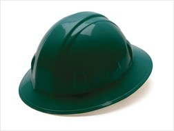 Pyramex Full Brim Green Hard Hat with Ratchet Suspension 26135