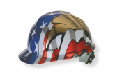 MSA 10052947 Ratchet hard Hat with US Flag and an Eagle on each side