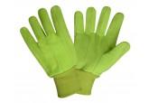 18oz 100% Cotton Hi Viz Green Double Palm Gloves (DZ)