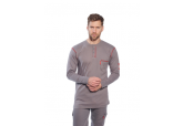 Portwest FR02 FR Long Sleeve Grey Henley Shirt