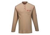Portwest FR02 FR Long Sleeve Khaki Henley Shirt