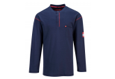 Portwest FR02 FR Long Sleeve Navy Henley Shirt