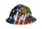 MSA 10071159 Full BrimRatchet hard Hat with US Flag and an Eagle on each side