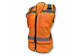 Women's Zippered Hi-Viz Orange Surveyor Vest Radians SV59W-2