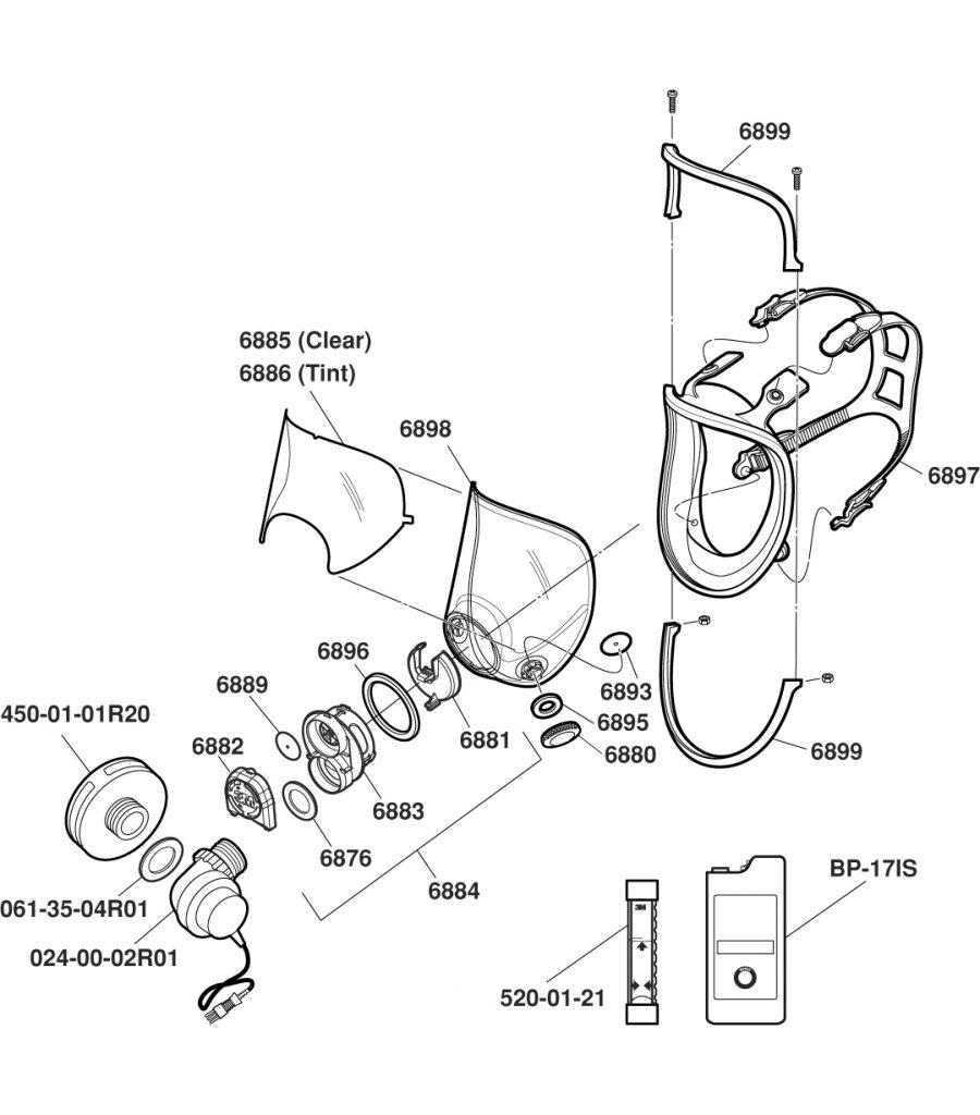 3M Respirator Replacement Parts Diagram